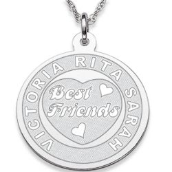 Silvertone Best Friends Engraved Pendant