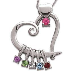 Mother's Sterling Silver Heart Slider Birthstone Pendant