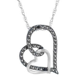 Sterling Silver Black and White Diamond Double Heart Necklace
