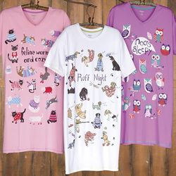 Whimsical Animal Designs Cotton Nightshirt