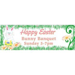 Easter Bunny and Basket 30x82 Personalized Vinyl Banner