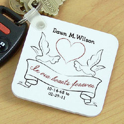 Personalized In Our Hearts Memorial Key Chain