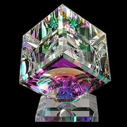 Rainbow of Colors Dichroic Optical Crystal Cube Sculpture