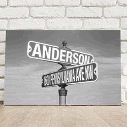 Personalized Black and White Street Sign Canvas Print