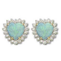 14k Yellow Gold Heart Shaped Opal and Diamond Earrings
