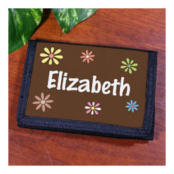 Girl's Personalized Flower Power Velcro Wallet