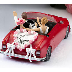 Bride and Groom in Car Cake Topper