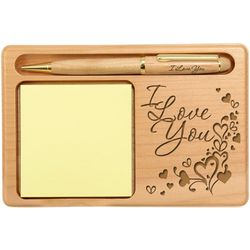 Overflowing Love Wooden Notepad and Pen Holder
