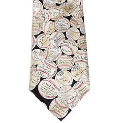 Baseballs with Signatures Neck Tie