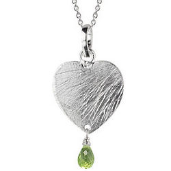 Peridot Heart Pendant in Sterling Silver