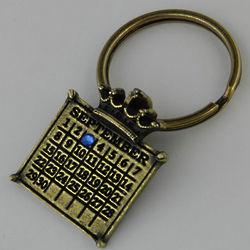 Calendar Crown Key Ring with Birthstone