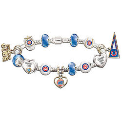 Chicago Cubs Charm Bracelet with Swarovski Crystals