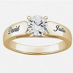 18K Gold Plated Sterling Round CZ Personalized Wedding Ring