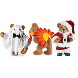 "15"" Teddy Bear with Three Holiday Outfits"
