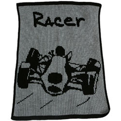 Personalized Acrylic Stroller Blanket with Racecar