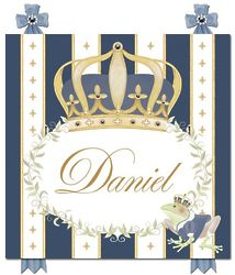 Boy's Personalized Posh Prince Crown Royal Blue Plaque
