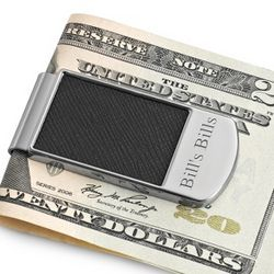 Engraveable Black Textured Money Clip