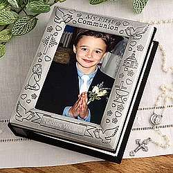 Engraved First Communion Pewter Photo Album