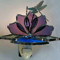 Stained Glass Lotus Flower with Dragonfly Night Light