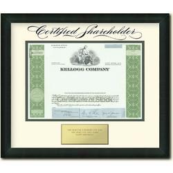 Framed Kellogg Certificate