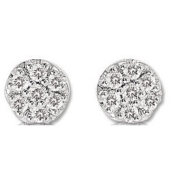 14k White Gold 1/10ct Diamond Cluster Button Earrings