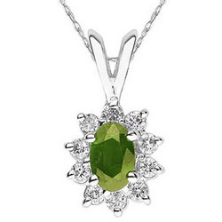 Oval Shaped Peridot and Diamond Flower Pendant in 14k White Gold