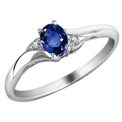 Blue Sapphire Ring with Diamonds in 10K White Gold