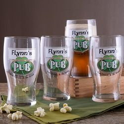 Personalized Irish Pub Lager Glass Set