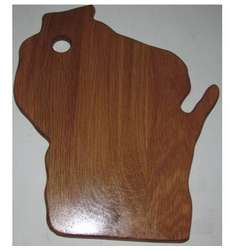 Wisconsin State Shaped Small Oak Wood Cutting Board