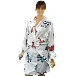 Women's Cat Printed Microfleece Short Bathrobe
