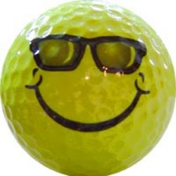 Smiley Face with Sunglasses Golf Ball