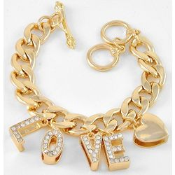 Love and Heart Goldtone Charm Bracelet