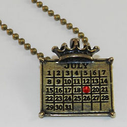 Calendar Crown Pendant with Birthstone