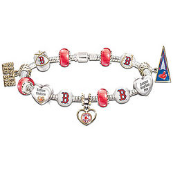 Boston Red Sox Charm Bracelet with Swarovski Crystals