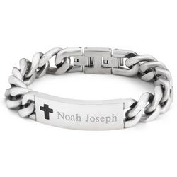Boy's Personalized Cross ID Bracelet