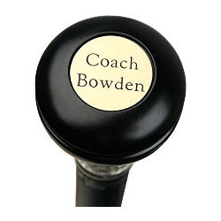 Brass Engraved Name Round Knob Walking Stick
