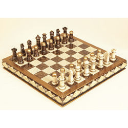 "16"" Pewter Chess Set with Board"