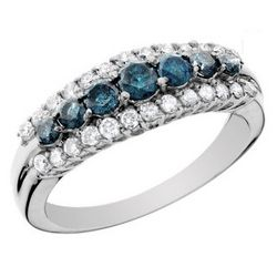 1.0 Carat Blue and White Diamond Ring in 10K White Gold