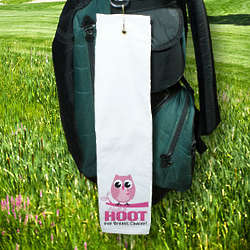 Give a Hoot Breast Cancer Awareness Golf Towel