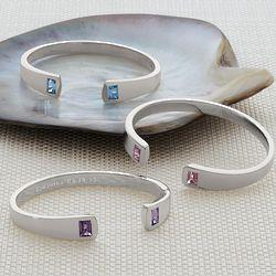 Sterling Silver Birthstone Cuff