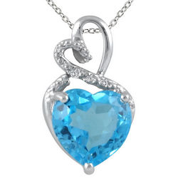 Sterling Silver Blue Topaz and Diamond Heart Pendant