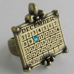 Personalized Calendar Fleur de Lis Adjustable Ring