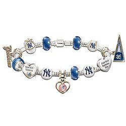 New York Yankees Charm Bracelet with Swarovski Crystals
