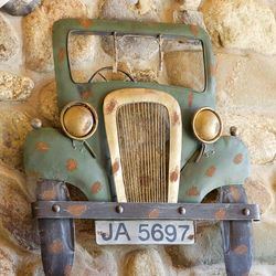 Antique Green Truck Metal Wall Plaque