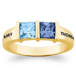 Couple's Gold-Plated Square Birthstone Name Ring