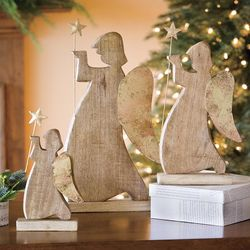 Wood and Metal Angel Figurines