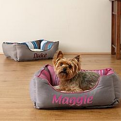 Personalized Stripe Box Cuddler Pet Bed