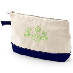 Natural and Navy Canvas Cosmetic Bag
