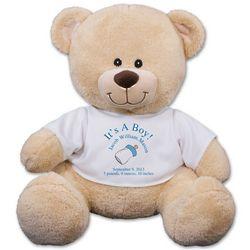 Personalized New Baby Boy Teddy Bear