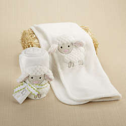 Love Ewe Lamb Plush Velour Baby Blanket